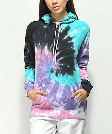 Zine Tera sudadera con capucha azul, morada y rosa con efecto tie dye