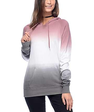 Zine Tera sudadera con capucha en gris y color malva