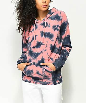 Zine Tera sudadera con capucha rosa y azul con efecto tie dye