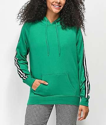Zine Tera sudadera con capucha verde con cinta