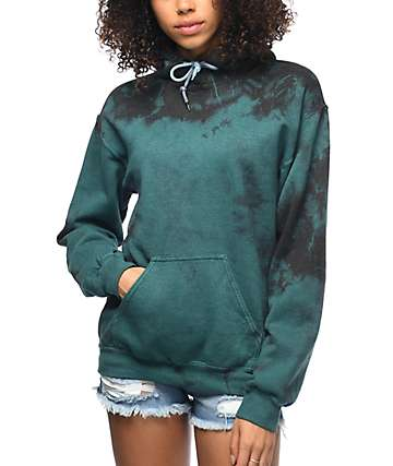 Zine Tera sudadera con capucha y efecto tie dye en negro y verde