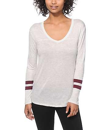 Zine Tila White & Burgundy Long Sleeve V-Neck T-Shirt
