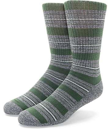 Zine Tock Olive & Charcoal Crew Socks