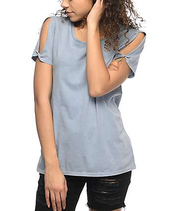 Zine Tresa Ashley Blue Cold Shoulder T-Shirt