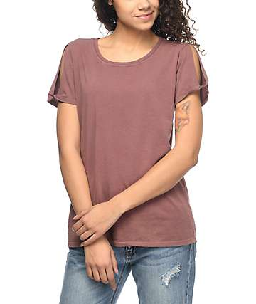 Zine Tresa Rose Taupe Cold Shoulder T-Shirt