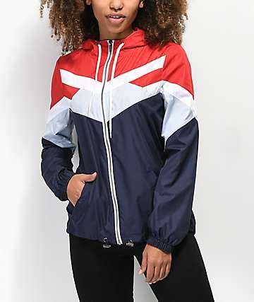 Zine Tyler chaqueta cortavientos roja, azul y blanca