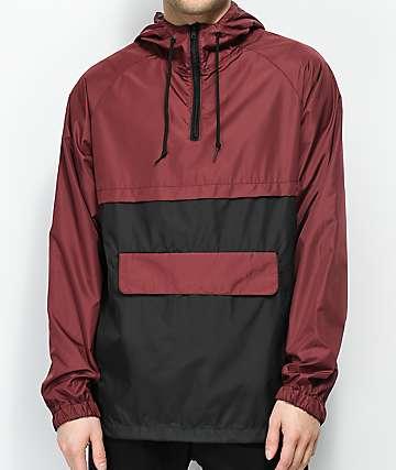 Zine Unlimited Burgundy & Black Anorak Jacket