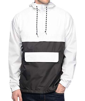 263a3246a6 Zine Unlimited White   Black Anorak Windbreaker Jacket