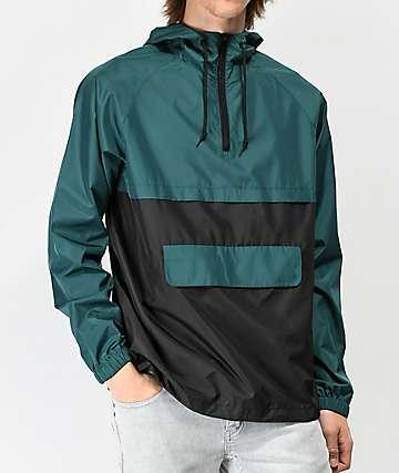 Zine Unlimited chaqueta anorak verde y negra