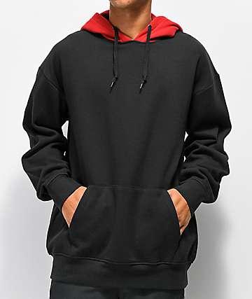 Zine Utmost sudadera con capucha roja y negra