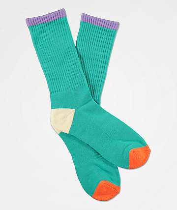 Zine Veil Pool Green Crew Socks