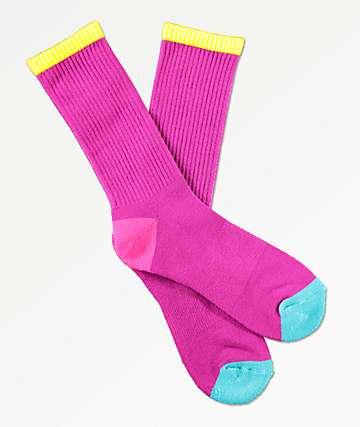 Zine Veil Raspberry Sorbet Crew Socks