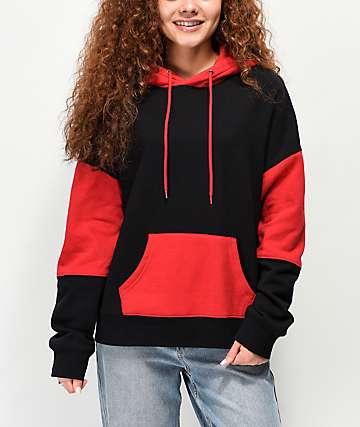 Zine Wesley sudadera con capucha negra y roja