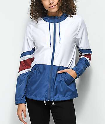 Zine Xander White, Blue & Red Windbreaker Jacket