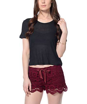 Zine Yohan Crop Heather Black Ringer T-Shirt