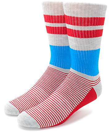 Zine You Betcha Grey, Red & Blue Crew Socks