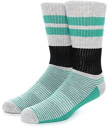 Zine You Betchya Grey, Black & Green Crew Socks
