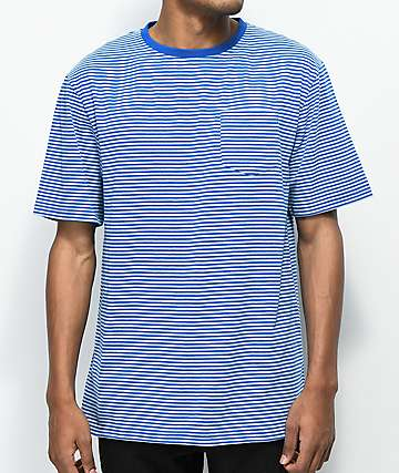 Zine camiseta azul de rayas con bolsillo