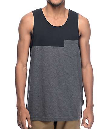 Zine camiseta sin mangas en negro y color carbón