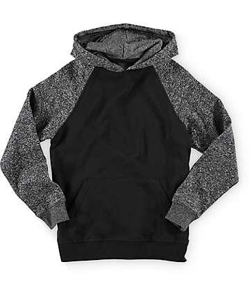 Zine sudadera con capucha en negro y color carbón para niños