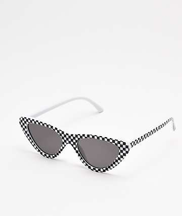 Zoe Checkered Black & White Sunglasses