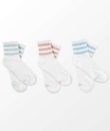 adidas 3 Pack Ash Multi calcetines blancos tobilleros