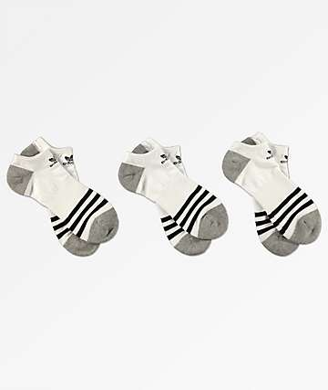 adidas 3 Pack Roller White, Black & Grey No Show Socks