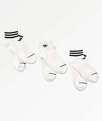 adidas 3 Pack White & Black Ankle Socks
