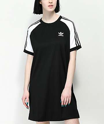 adidas 3 Stripe Black & White Raglan Dress