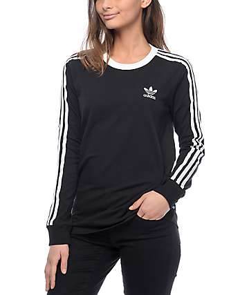 adidas 3 Stripe Black Long Sleeve T-Shirt