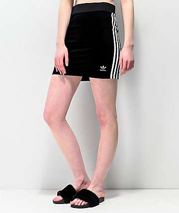 adidas 3 Stripe Black Mini Skirt