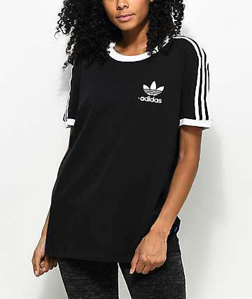 adidas 3 Stripe Black T-Shirt