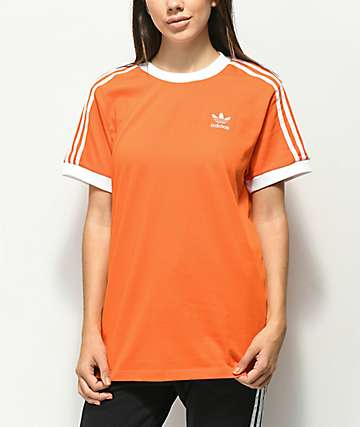 adidas 3 Stripe Bright Orange T-Shirt