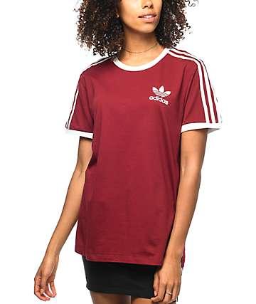 adidas 3 Stripe Burgundy T-Shirt