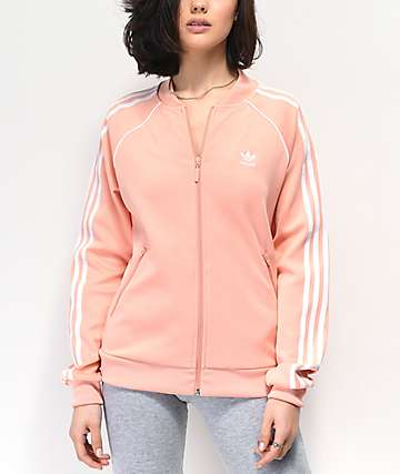 adidas 3 Stripe Collegiate Dust Pink Track Jacket