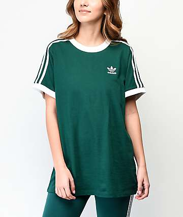 72c65519db02 adidas 3-Stripe Collegiate Green & White T-Shirt