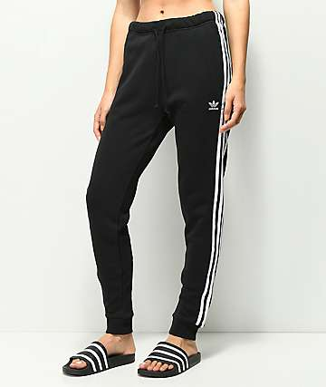 0a6c4842d6d5 adidas 3 Stripe Cuffed Black   White Track Pants