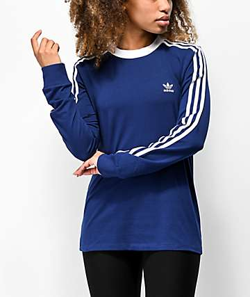 adidas 3-Stripe Dark Blue Long Sleeve T-Shirt
