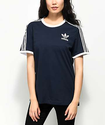 adidas 3 Stripe Dark Blue T-Shirt