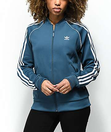 adidas 3 Stripe Dark Teal Track Jacket