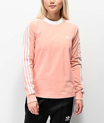 9f76cece adidas 3-Stripe Dust Pink Long Sleeve T-Shirt