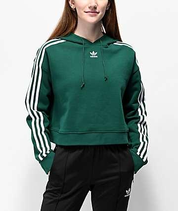 a9988e290f adidas 3 Stripe Green Crop Hoodie