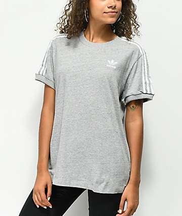 55a9f3ae2a09 adidas 3 Stripe Heather Grey T-Shirt