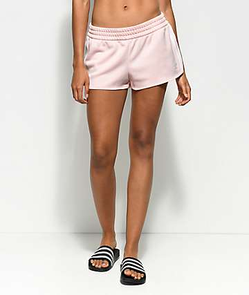 adidas 3 Stripe Ice Pink Track Shorts