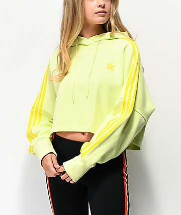 adidas 3 Stripe Ice Yellow Crop Hoodie