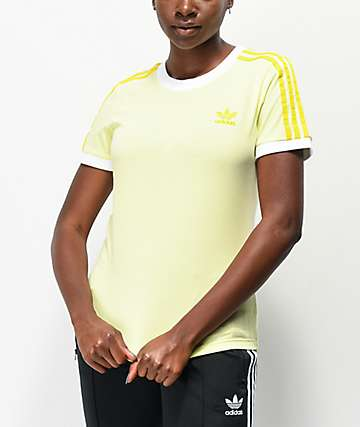 adidas 3 Stripe Ice Yellow T-Shirt