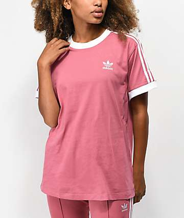 adidas 3 Stripe Mauve T-Shirt
