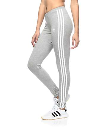adidas 3 Stripe Medium Grey Leggings