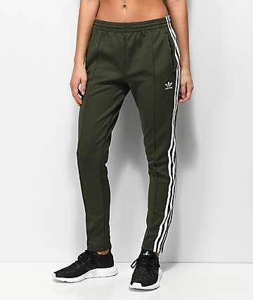 adidas 3 Stripe Olive Track Pants