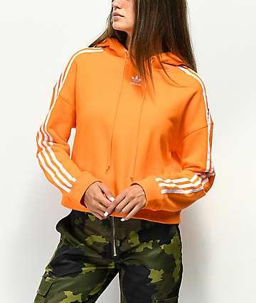 adidas 3 Stripe Orange Crop Hoodie